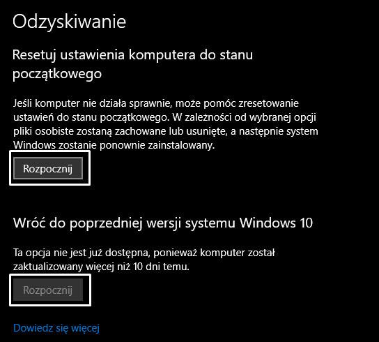 Przywracanie systemu Windows 10