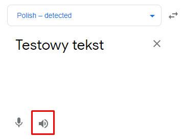 Czytanie tekstu przez Google Tłumacz