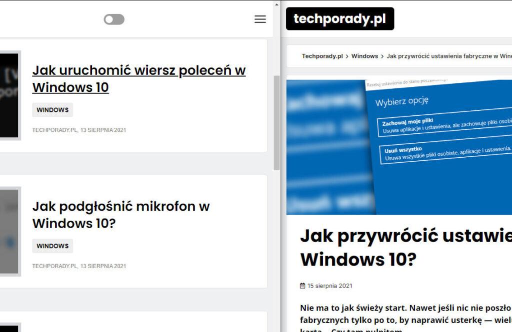 Dzielenie ekranu w Windows 10