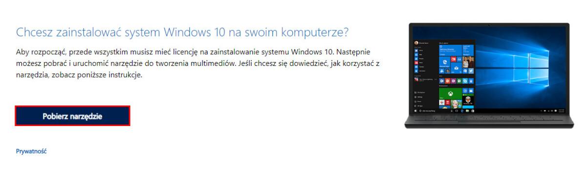 Windows pobieranie narzędzia
