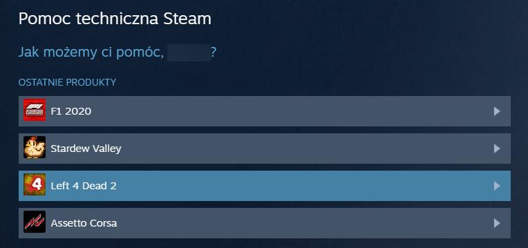Wybieranie gry do zwrotu na Steam