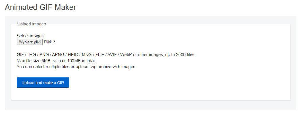 Wybieranie plików do GIFa
