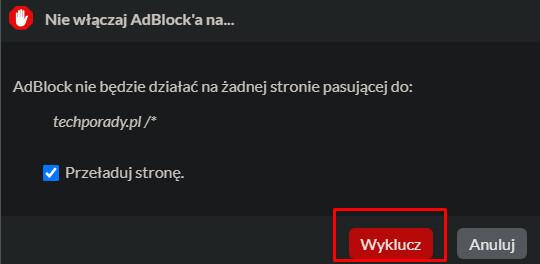 Wyłączanie AdBlocka